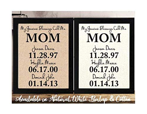 (Personalized Mother's Day Gift for Mom, Birthday gift for Mom Burlap or Cotton, Mothers Day Gift from Daughter or Son, Easter Gift for Mom, Personalized Children Kids Names gift for)