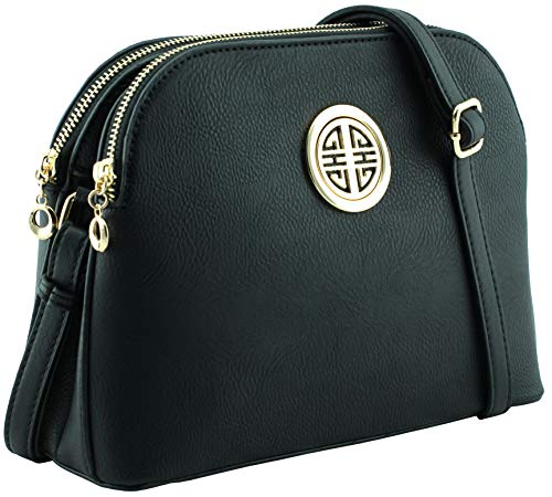 Multi pockets functional dome shape cross body bag with gold tone emblem (Black)
