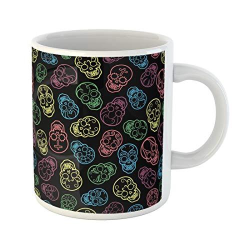 Tinmun 11 Oz Coffee Mug Sugar Colorful Mexican Skulls Artistic Black Bone Calavera Carnival Decor Lover Funny Mug Birthday Gift Coffee Tea Cup Mugs]()