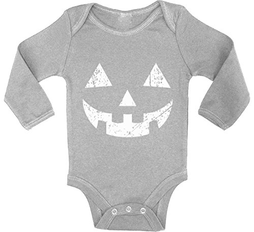 Awkward Styles Baby Jack O' Halloween Pumpkin Boy Girl Long Sleeve Bodysuits Tops Halloween Easy Costume Idea Grey 6M ()