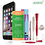 JEMESI Battery for model iPhone 6, 2200mAh 0 Cycle with Replacement Repair Tool Kits,Instruction and Screen Protector [24-Month Warranty] (model ip 6)