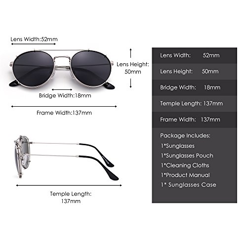 Sol Plateado de Anteojos en Retro Planas Clip Espejo Mujer Polarizadas Gafas de Hombre Gris Redondas q5zTO