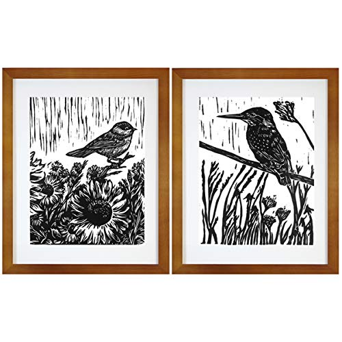 (7eGrace Bird Art Prints Vintage Dictionary Paintings Black and White Animals Woodcut Wall Art Handmade Poster for Home Decor 8''X10'' Unframed Set of 2 (No.2))
