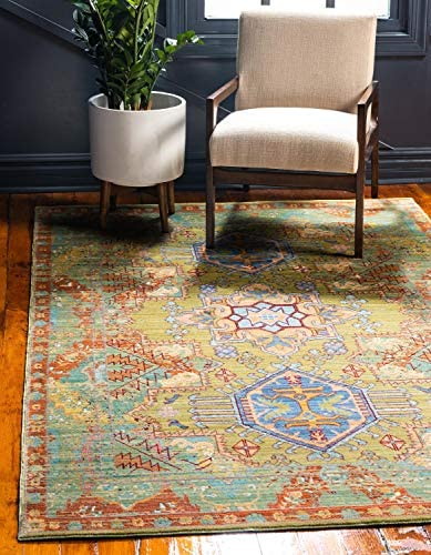 Unique Loom Austin Collection Botanical Abstract Traditonal Medallion Vibrant Colors Light Green Area Rug 7 0 x 9 10