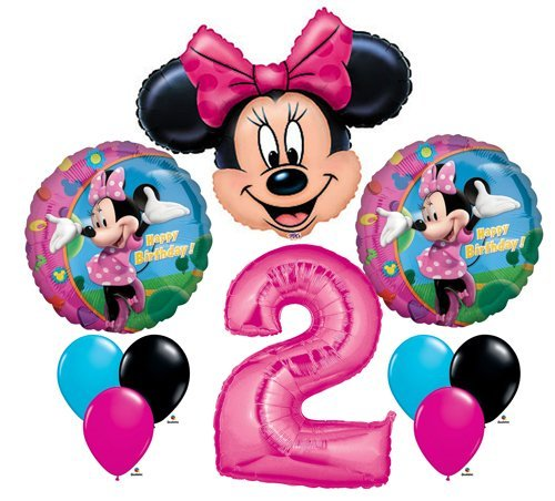 Minnie Mouse #2 2nd Second Happy Birthday Balloon Party Set Mylar Latex Disney by Anagram ()