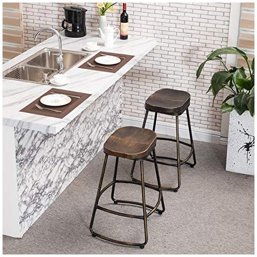 Farmhouse Barstools Awonde 30″ Swivel Bar Stools Set of 2 Industrial Distressed Metal Bar Height stools with Wood Top farmhouse barstools