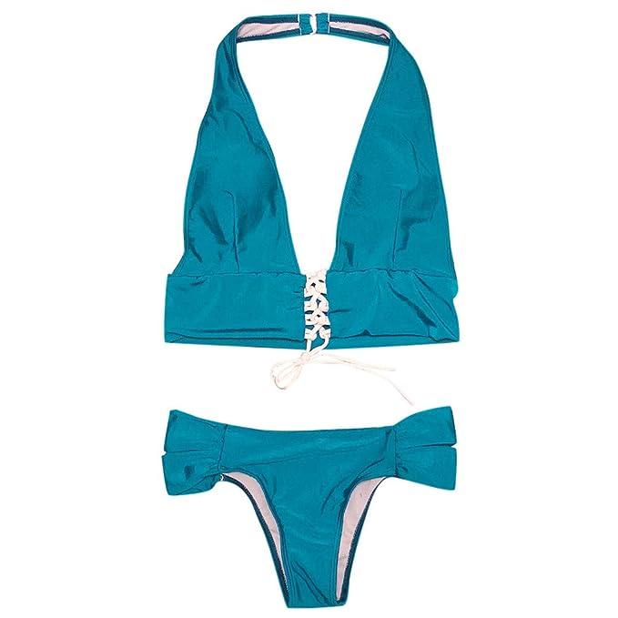 RETUROM 2019 Traje de baño,Ropa de Playa para Mujer Sólido 2 ...