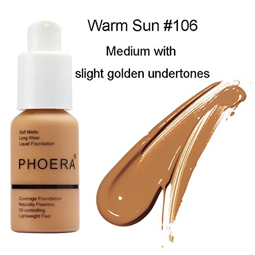 Ownest Matte Oil Control Concealer Foundation Cream,Long Lasting Waterproof Matte Liquid Foundation,106 Warm Sun-30ml