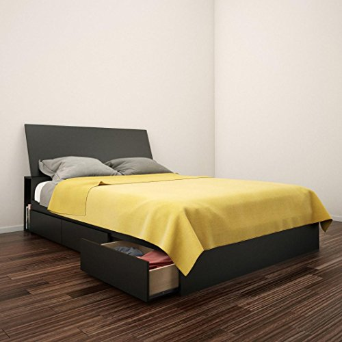 Nexera Full Size Storage Bed with Headboard in Black