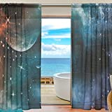 SEULIFE Window Sheer Curtain, Universe Galaxy Nebula Stars Voile Curtain Drapes for Door Kitchen Living Room Bedroom 55x84 inches 2 Panels