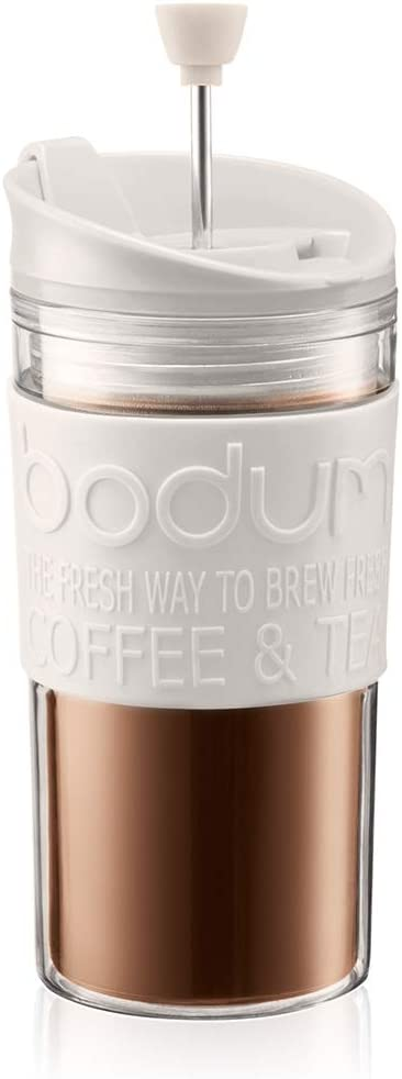 Bodum Travel Press Coffee Maker, Flip Top Lid, Double Wall, Plastic, 0.35 l, 12 oz, Off White