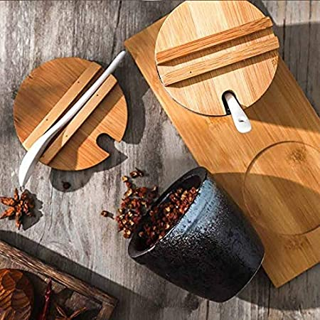 Color : Black, Size : ONE Salt and Pepper Containers Set WHY-TIAIPMW Spice Jars Japanese-style Ceramic Spice Rack Seasoning Box with Bamboo Lid Tray Serving Condiment Jar