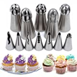 Put Frosting Nose - Stainless Steel 12pcs Set Icing Piping Nozzle Cake Decorating Tip Baking Tool Kit Accessory - Primed Rigid Nonmoving Readiness Fixed Unmoving Ready Hooter