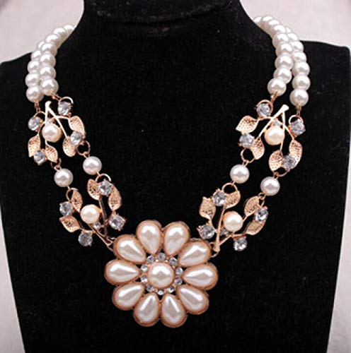 Tuscom Women Jewelry Crystal Pearl Flower Bib Choker Chunky Statement Collar Necklace