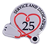 25 years of service pin - 25 Year Medical Service & Dedication Award Lapel Pins with Stethoscope, 6 Pins