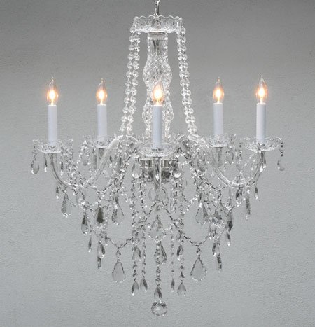 Authentic All Crystal Chandelier Chandeliers Lighting H30″ X W24″