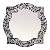 Mission Style Quatrefoil Mirror, Andalusian Lindaraja Designer Mosaic Glass Framed Wall Mirror, 24'' x 24'' Colorful Wall Mirror with Silver Glass Mosaic Quatrefoil Frame (Multi Silver)