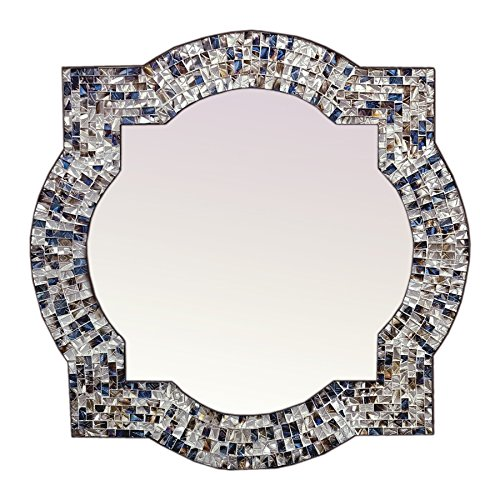 Mission Style Quatrefoil Mirror, Andalusian Lindaraja Designer Mosaic Glass Framed Wall Mirror, 24'' x 24'' Colorful Wall Mirror with Silver Glass Mosaic Quatrefoil Frame (Multi Silver) by DecorShore