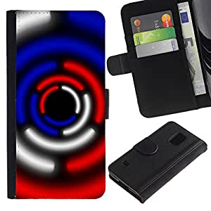 KingStore / Leather Etui en cuir / Samsung Galaxy S5 V SM-G900 / Ciencia Ficción Luces Azul Rojo Negro Blanco