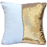 """featured product URSKYTOUS Reversible Sequin Pillow Case Decorative Mermaid Pillow Cover Color Changing Cushion Throw Pillowcase 16"""" x 16"""",White and Gold"""