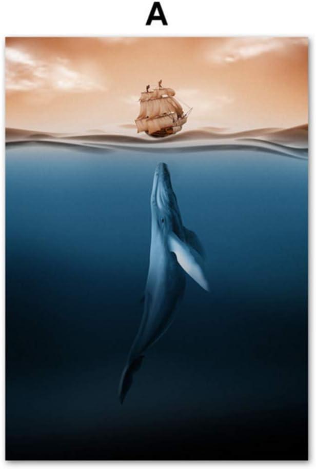 ballena mar barco abstracto moderno arte de la pared lienzo pintura carteles e impresiones cuadros de la pared para sala de estar arte impresiones decoración-50x70 cm sin marco