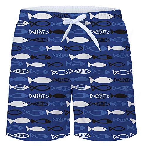 Patterns Bone - uideazone Mens Short Quick Dry Waterproof Fish Bone Pattern Swim Trunks with Mesh Lining Swimwear Bathing Suits