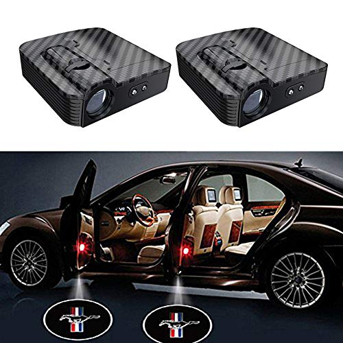 2PCS Carbon Fiber Wireless Universal Car Projection LED Projector Door Shadow Logo Light Welcome Lamps For Mustang