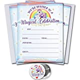 Unicorn Party Invitations with Envelopes 15 Pack | Magical Birthday Celebration | Includes 2.25 inch Magical Unicorn Pin