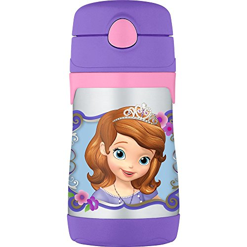Price comparison product image THERMOS Vacuum Insulated Stainless Steel 10-Ounce Straw Bottle, Sofia the First