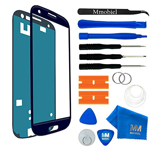 MMOBIEL Front Glass for Samsung Galaxy S3 (Blue) Display Touchscreen incl 12 pcs Tool Kit (Galaxy S3 Screen Replacement Blue)