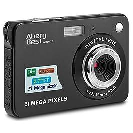 AbergBest 21 Mega Pixels 2.7″ LCD Rechargeable HD Digital Camera,Video camera Digital Students cameras,Indoor Outdoor for Adult/Seniors/Kids (Black)