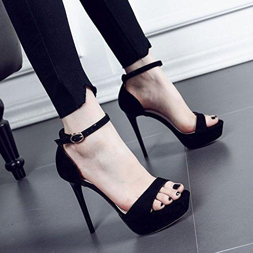 EU38 Dew De Ranurada Boca Mujeres Sandalias Taiwán Bellas Pescado Eu38 Correa De High Zapatos SHOESHAOGE Con Impermeable Heeled Matt Toe Zapatos Mujer PwFnq1gg