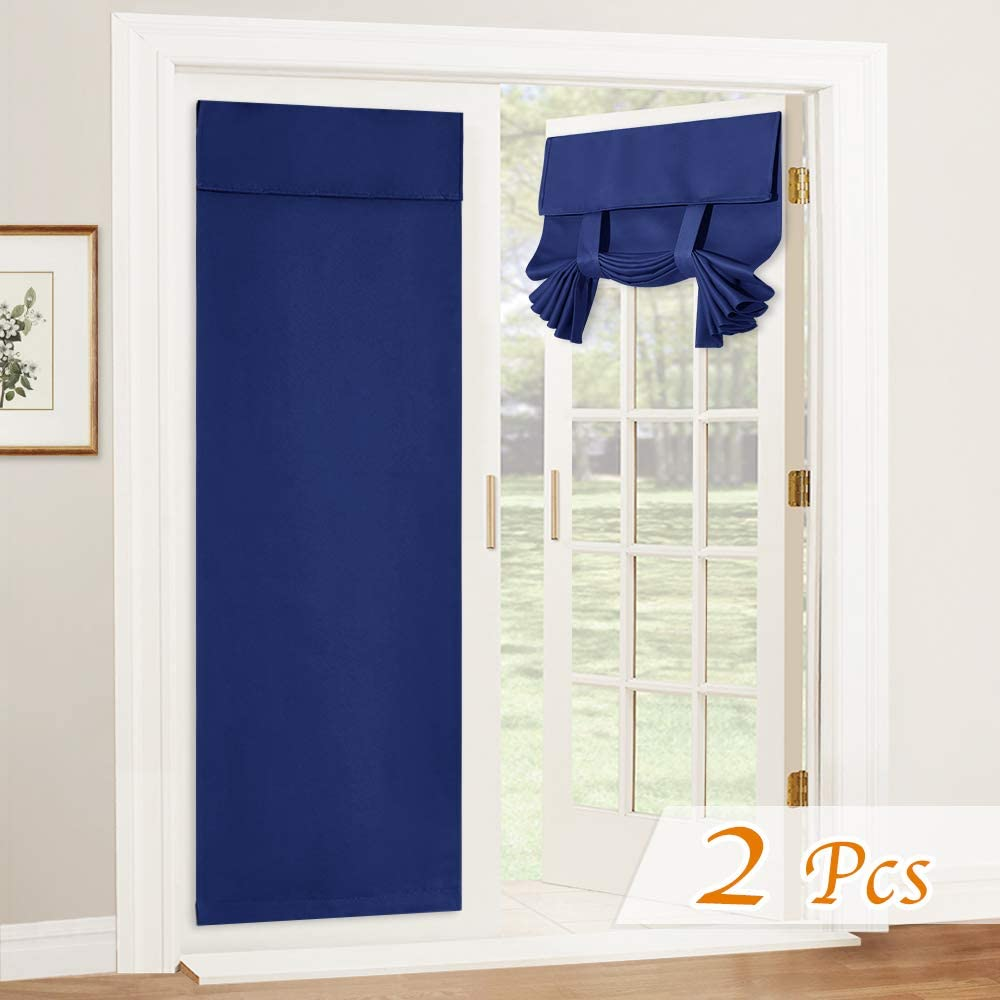 RYB HOMENTricia Blackout Curtain - Thermal Insulated Room Darkening Door Curtains,Tool Free Self Sticky Tie up Shades Sidelight Curtains Entry Door Panels, W 26 x L 69 inch, 2 Pcs, Navy Blue