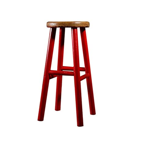 Amazon.com: QERNTPEY-Chairs Wood Step Stool Round Counter ...