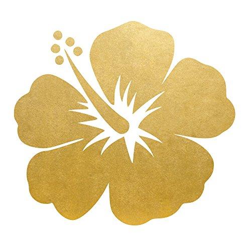 HIBISCUS FLOWER set of 25 premium waterproof metallic gold tropical flower temporary jewelry foil Flash Tattoos ()