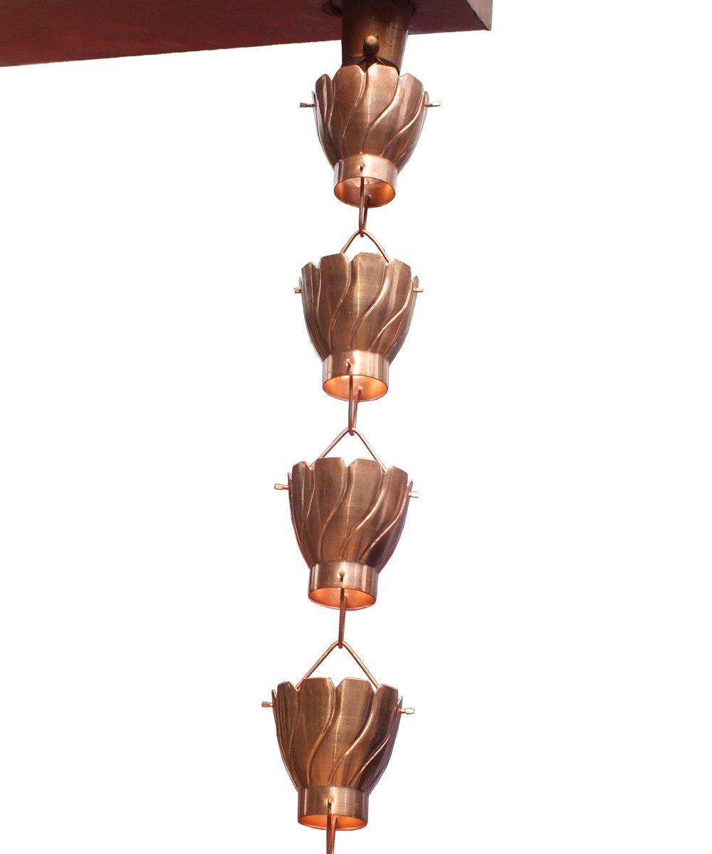 Monarch Pure Copper Akira Rain Chain, 8-1/2-Feet Length