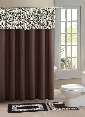 New Brown Safari Zebra, Contemporary Bath Shower Curtain 15 Pcs Modern Bathroom Rug Mat Contour Hook Set (Places To Buy Balloons Near Me)