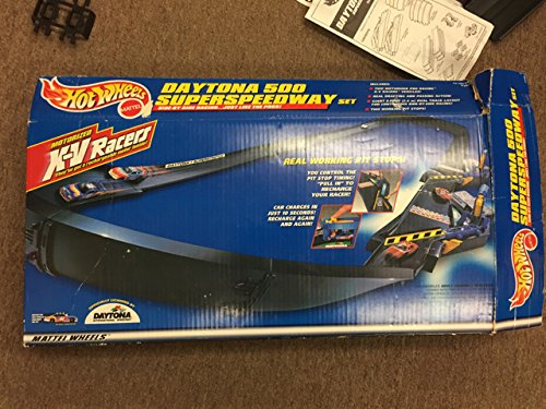 Hot Wheels Nascar X-V Racers Daytona 500 Motorized SuperSpeedway. Includes 2 XV Racer Nascar Rechargeable Racing Cars and 2 real working pit stops for recharging the cars.  From the original makers of Sizzlers. (Xv Racer)