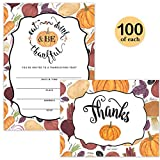 Thanksgiving Day Dinner Invitations & Folded Thank You Notes ( 100 of Each ) Matching Set with Envelopes Large Group Banquet Be Thankful Fill-in Turkey Meal Invites & Thank You Cards Best Value Pair