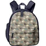 Paw Printed Customized Casual Book Bag Middle School Backpacks for Boys