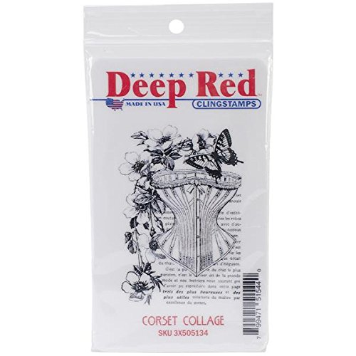 Deep Red Stamps Corset Collage Rubber Stamp 3x505134