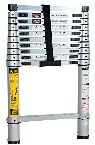 Escalera telescópica de aluminio Vestil TLAD-10, capacidad de 102,05kg, Cerrara: ancho de 46,99cm, altura de 73,66cm y profundidad de 6,99cm