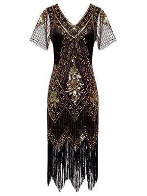 FAIRY COUPLE 1920s Sequined V-Neck Flapper Dress Short Sleeves Tassels Hem D20S008