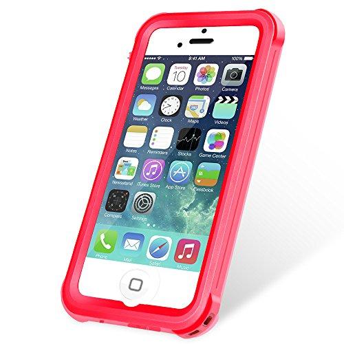 KYOKA iPhone SE 5 5s 防水ケース 指紋認証対応 防水 耐震 防塵 耐衝撃 IP68 アイフォン SE 5 5s 防水カバー (レッド)