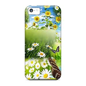 New Style MeSusges Hard Case Cover For Iphone 5c- Daisy Fields Butterfly