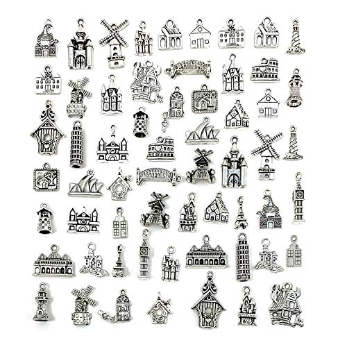 Famous Buildings Travel Theme Charms, JIALEEY Wholesale Bulk Lots Alloy House Charms Pendants DIY for Jewelry Making and Crafting, Antique Silver 61PCS ()
