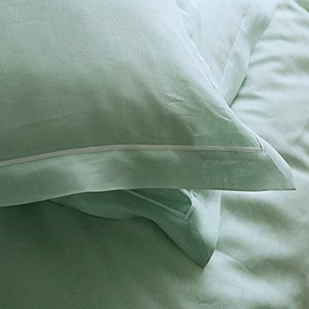 Pillow Case Cover Mint with White Piping Linen Linenme 10
