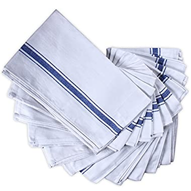 Premium Kitchen Dish Cloth Towels (12 Pack) Machine Washable 100% Cotton Highly Absorbant White Kitchen Cleaning Towel Tea Towels (15 x 25 Inch) by Utopia Towels