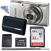 Canon PowerShot ELPH 180 Digital Camera (Silver) with 32GB Memory + CASE + CLOTH by Linen Zone