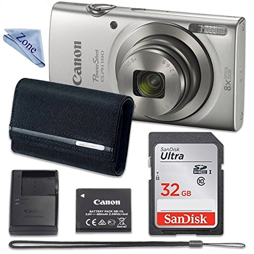 Canon PowerShot ELPH 180 Digital Camera (Silver) with 32GB Memory + CASE + Cloth (Best Digital Camera For Traveling Abroad)